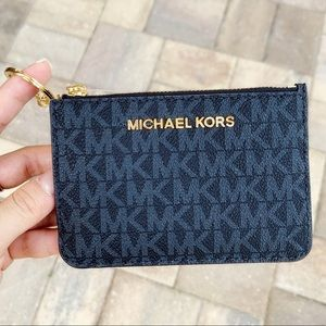 Michael Kors Top Zip Coin Pouch ID Holder NavyBlue